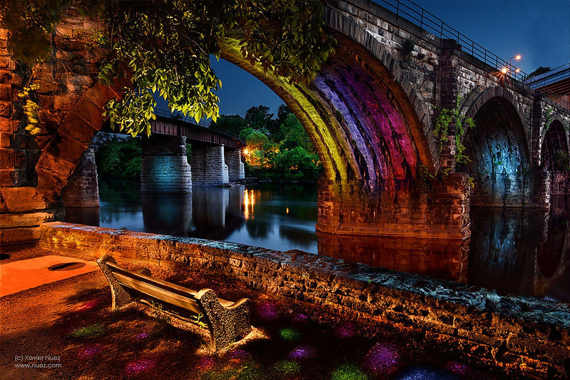"""A peaceful """"long exposure"""" """"light painting"""" of the """"Reading Railroad"""" bridge over the """"Schuylkill River"""" in Philadelphia"""