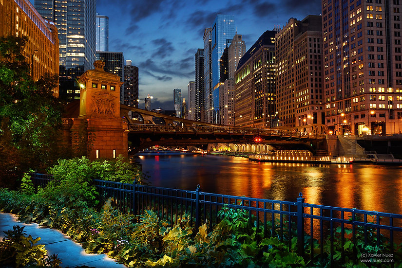 A fantasy view of the Chicago Riverwalk shot at night with the beautiful night skyline by artist Xavier Nuez