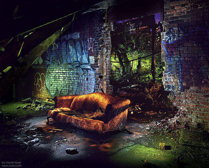 "detroit urban ruins graffiti couch ""light painting"" ""night photography"" ""art photography"" ""long exposure photography"""