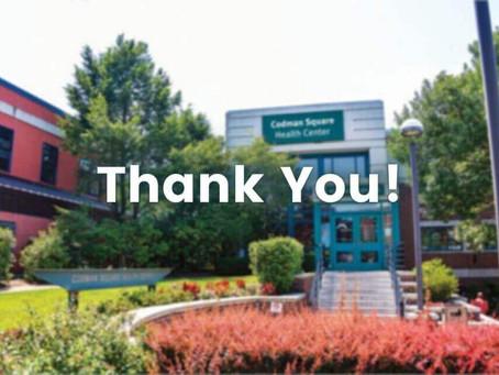 Thank You from Codman Square Health (Boston, MA)