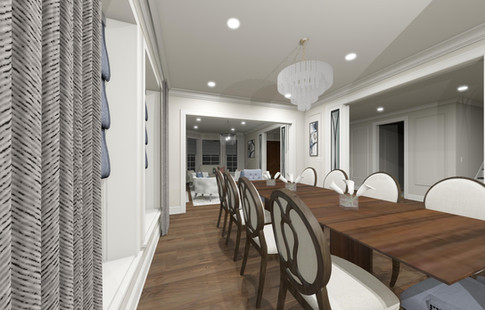 Dining room design & renovation. Large custom table and fabric rich chairs add comfort, pattern and style to the design.