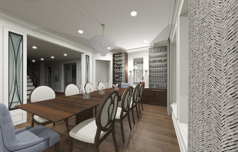 Large formal dining room with custom hutch & buffet. Fabric chairs add texture, interest & style to the design.
