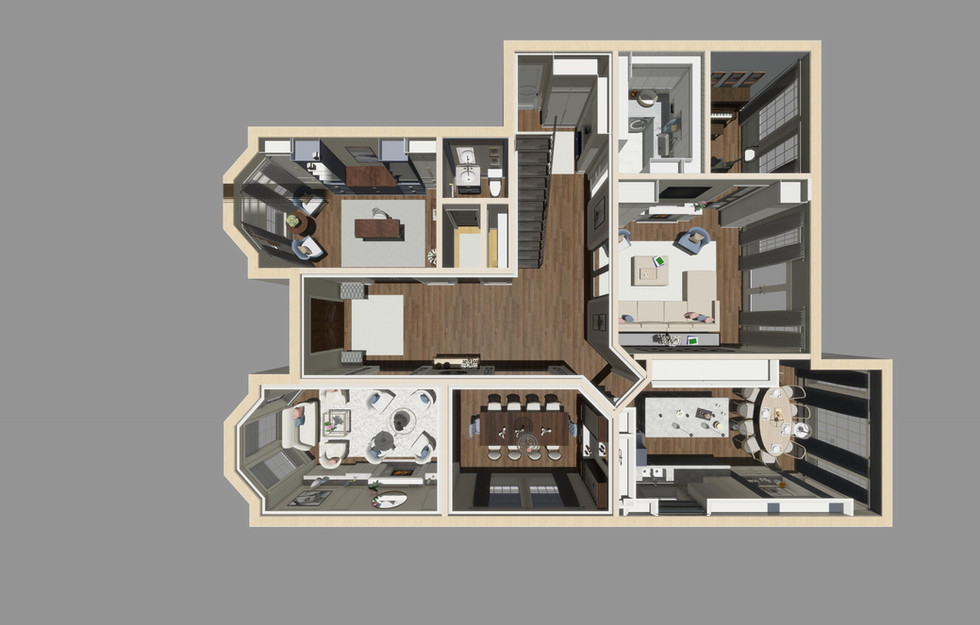 3D birds eye rendering shows floor plan and furniture placement. Clients get a great perspective on the design & renovation.