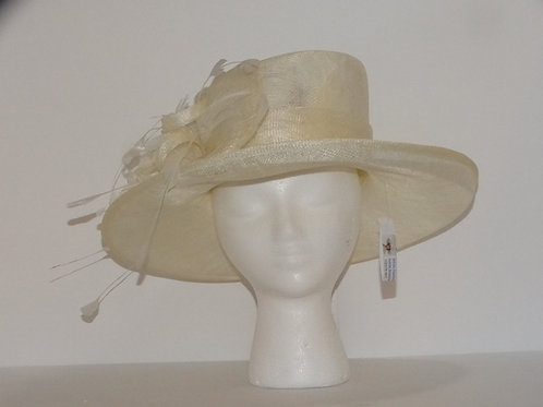 White feather Bow Sinamay Straw Dress Hat