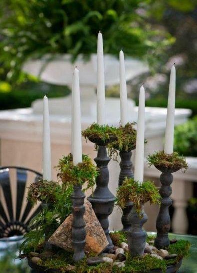 moss candlesticks, fall decor
