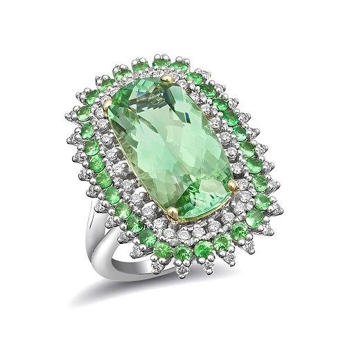 14k Two-tone gold 7.9ct TGW Green Namibian Tourmaline Tsavorite Diamond Ring