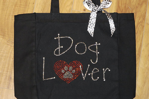 Rhinestone Dog Lover Tote Bag With Dog Paw Print - Bling Dog Lover Tote