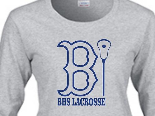 """Long-Sleeve BHS Lacrosse BRUIN """"B"""" Outline Design in Royal Blue Vinyl"""