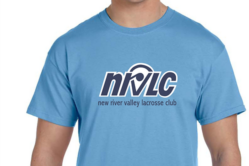 NRVLC MENS' Cotton T-shirt with NRVLC Logo in Navy / White on Carolina Blue