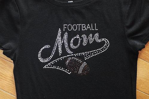 Football Mom BLING Rhinestone Tee - Football Mom Spirit T-Shirt