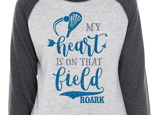 Personalized Lacrosse LAX Mom- My Heart is On That Field Glitter Tee