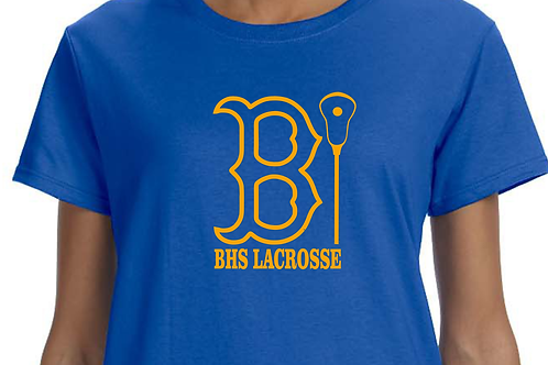 "Short-Sleeve BHS Lacrosse Bruin ""B"" Outline Design in Gold Vinyl"