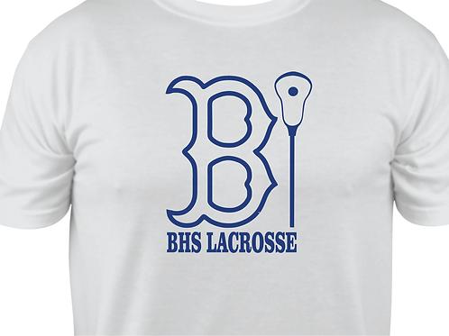 """Short-Sleeve BHS Lacrosse Bruin """"B"""" Outline Design in Royal Blue Vinyl"""