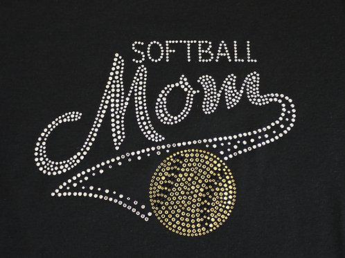 Softball Mom BLING Rhinestone Tee - Softball Mom Spirit T-Shirt