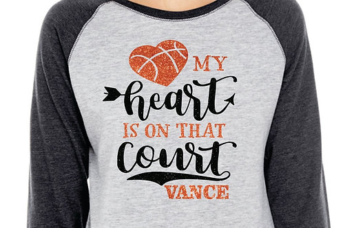 Personalized Basketball Mom- My Heart is On That Court - Glitter 3/4 Sleeve Tee