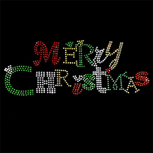 Rhinestone Merry Christmas XMas / Holiday T-Shirt - Short or Long