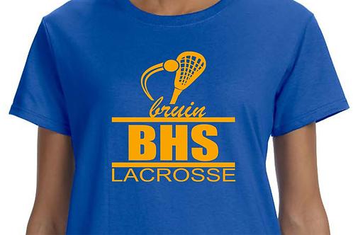 Short-Sleeve BHS Bruin Lacrosse Design with Lacrosse Stick in Gold Vinyl