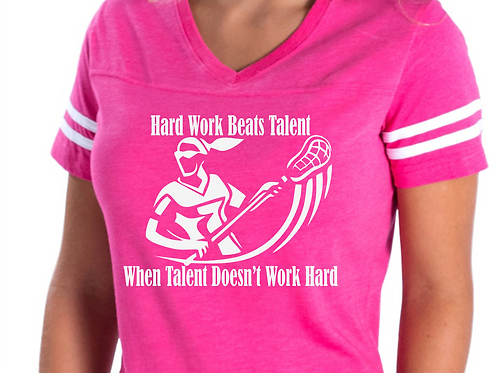 LACROSSE Hard Work Beats Talent Womens or Girls Jersey T-shirt - Matte Vinyl