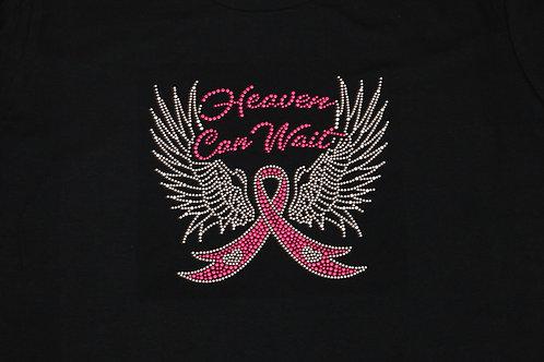 Heaven Can Wait Breast Cancer Awareness BLING Tee - Rhinestuds Bling T-Shirt