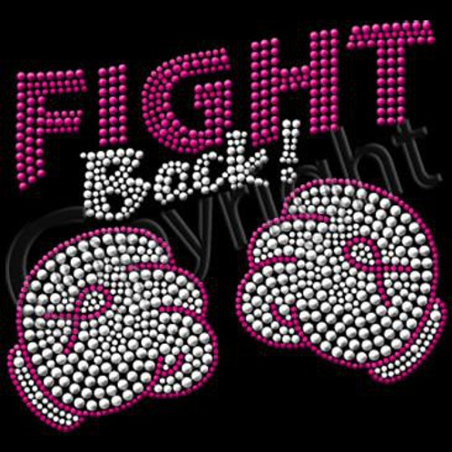 FIGHT BACK Breast Cancer Awareness BLING Tee Rhinestud Text w/ Boxing Gloves