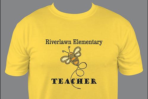 Men's Style Tee - Riverlawn Rhinestone & Black Glitter Vinyl TEACHER Design
