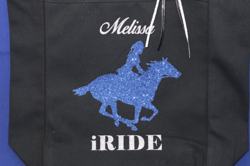 Personalized iRide Glitter Horse Tote Bag Bling with 2 color Glitter Vinyl