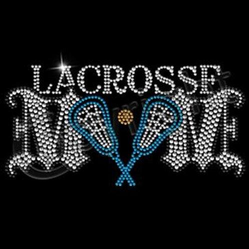 NRVLC Lacrosse Mom Rhinestone Tee with Blue Lacrosse Sticks & Ball