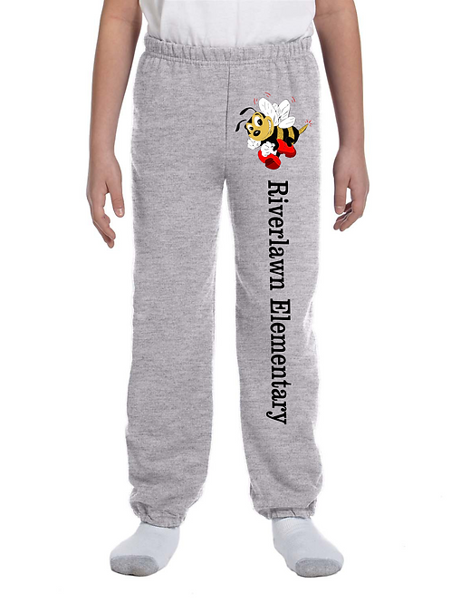 Youth Sweatpants - Riverlawn Elementary Text & Bee in Matte Vinyl