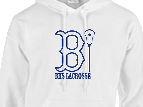 """Youth/Adult Hoodie BHS Lax Lady Bruin """"B"""" Outline Design in Royal Blue Vinyl"""