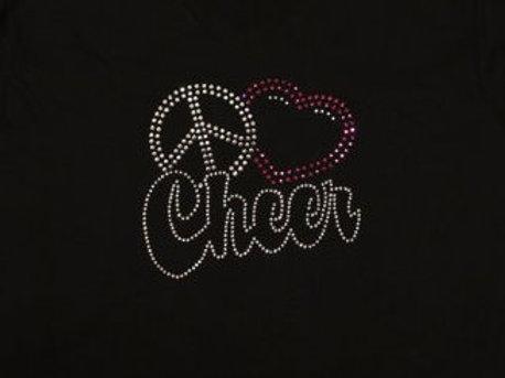 Youth Peace Love Cheer Rhinestone Bling T-Shirt - Cheerleader Spirit Bling Tee
