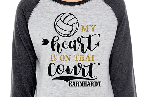 PERSONALIZED Volleyball Mom - My Heart is On That Court - Glitter 3/4 Sleeve Tee