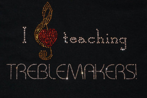 Rhinestone I LOVE Teaching Treblemakers Bling Teacher T-Shirt Music Teacher Tee