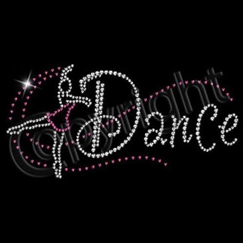 Youth Rhinestone Dance Tee w Pink Dancer - Dancer Bling T-Shirt