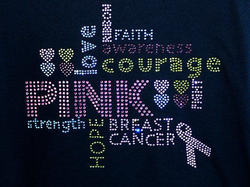 PINK Rhinestone Collage Breast Cancer Awareness Tee -  Long or Short Sleeve Tee