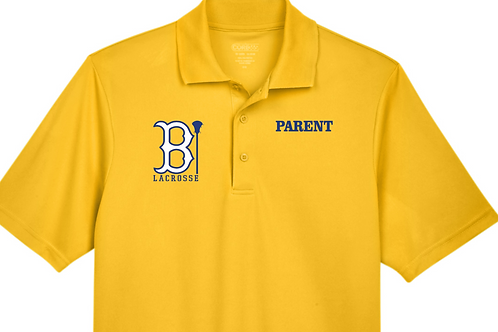 "Men's or Ladies' Polo w Blacksburg ""B"" Lacrosse Design in Royal or Gold"