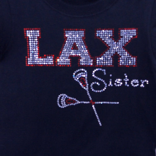 Youth Rhinestone LAX Lacrosse Sister BLING Tee - Lacrosse Sister T-shirt