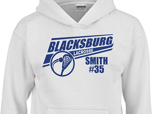 Youth/Adult Hoodie B'Burg LAX Bruin Royal Design-Personalized w Name & #