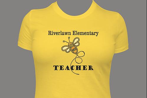 LADIES' Style Tee - Riverlawn Teacher Rhinestone Bee with Black Glitter Vinyl