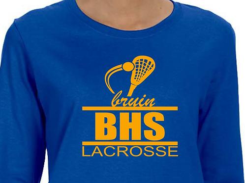 Long-Sleeve BHS Bruin Lacrosse Design w/ Lacrosse Stick in Gold Vinyl