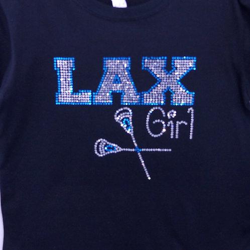 Youth Rhinestone LAX Lacrosse Girl BLING Tee - Lacrosse Girl T-shirt - LAX Bling