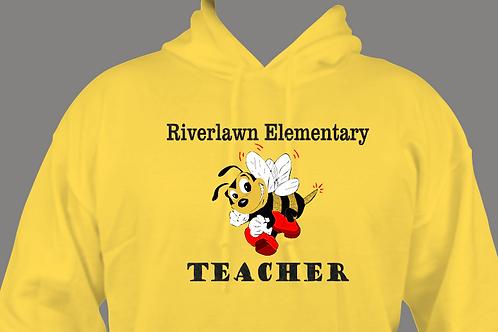 Adult Hoodie -Vinyl Riverlawn Bee with Black VINYL TEACHER