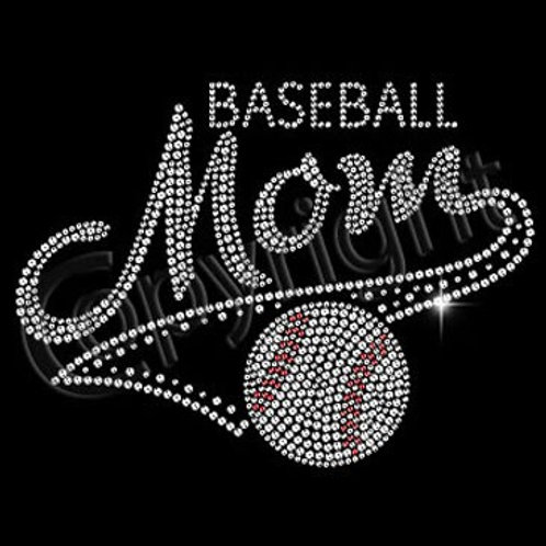 Baseball Mom BLING Rhinestone Tee - Baseball Mom Spirit T-Shirt
