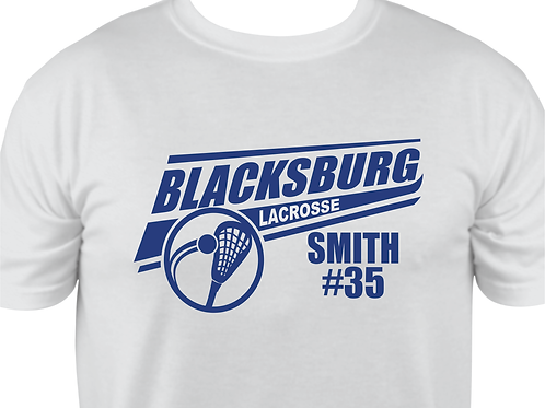 Short-Sleeve B'burg Lacrosse Design in Blue-Personalized w Name & Number