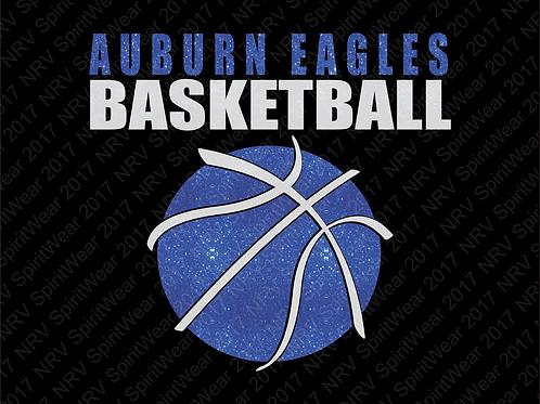 Basketball T-shirt w/ TEAM Name & Ball in Glitter Vinyl - Custom Basketball Tee