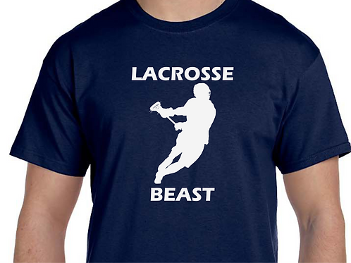 Lacrosse Beast Mens' or Boys' Short Sleeve Tee with White Matte Vinyl Design