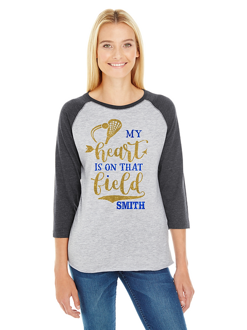 BHS Personalized Lacrosse LAX Mom- My Heart is On That Field Glitter Tee