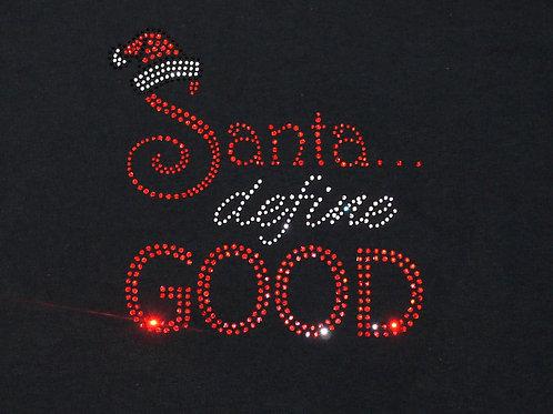 Youth Bling Santa Define Good Christmas T-Shirt - Youth Christmas Rhinestone Tee