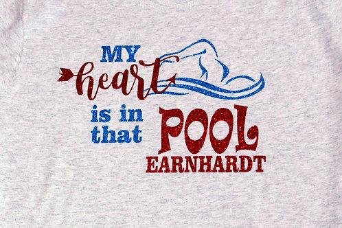 Personalized Proud Swim Mom Gitter Tee - My Heart is in that Pool