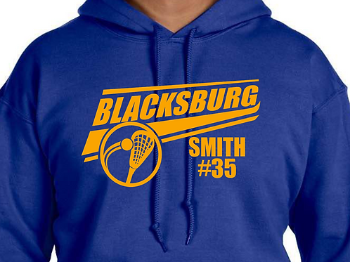 Youth/Adult Hoodie B'Burg LAX Bruin Gold Design-Personalized w Name & #