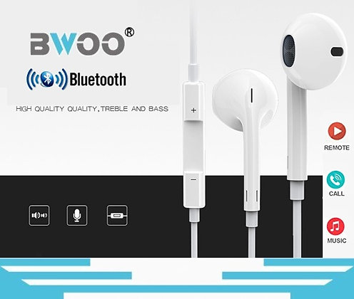 BWOO Bluetooth Lightning Wired Earphones for iPhone 7 8 Plus X XR 11 12 Pro Max